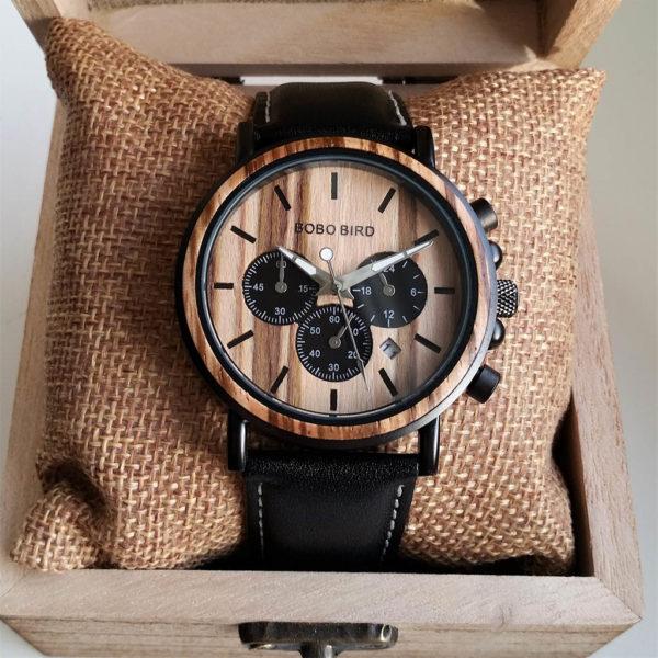 Drevené hodinky WILD LEATHER