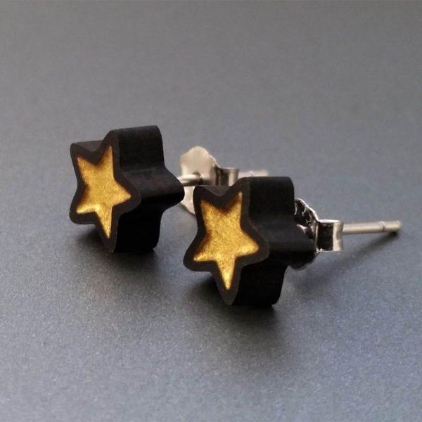 Drevené náušnice GOLDEN STAR