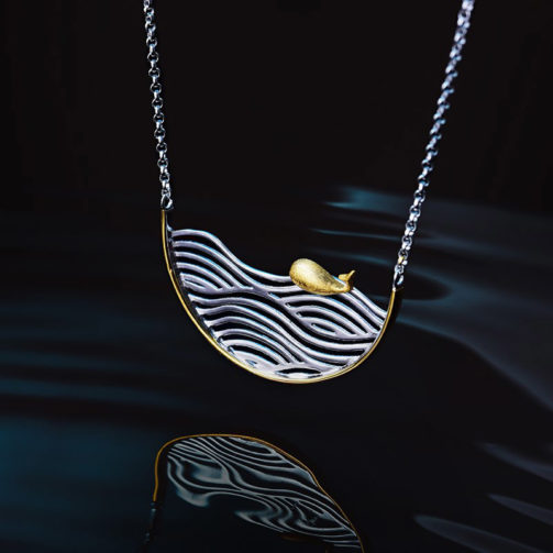 Strieborný náhrdelník Zlatá rybka