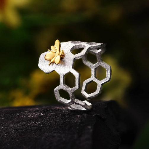 Strieborný prsteň Medová láska