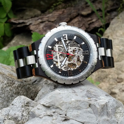 Mechanické drevené hodinky ABSOLUT BLACK
