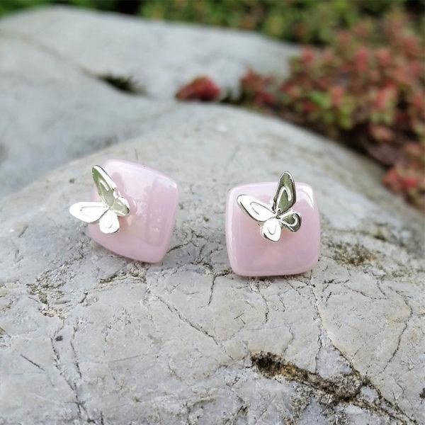 Strieborné náušnice Motýliky