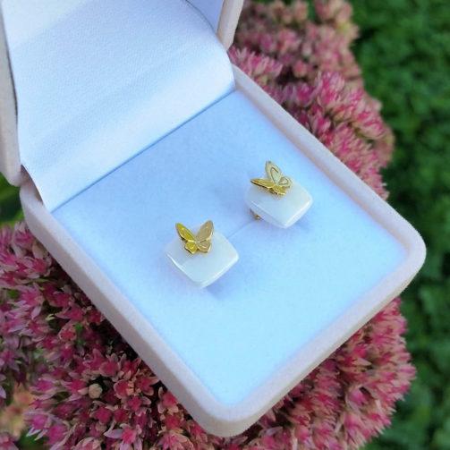 Strieborné náušnice Motýliky zlaté